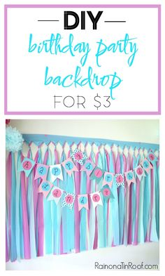 This DIY Party Backdrop is perfect for not only birthday parties but also for a photo booth! Such a great party decoration idea! DIY Party Background l - Kids Birthday Party Decor Ideas Party Background, Birthday Background, Background Decoration, Background Ideas, Backdrop Background, Party Kulissen, Party Time, Ideas Party, Diy Ideas