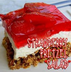 1 6-oz pk Straw Jello 2 c boiling water 1 -10 oz  frozen sliced st.berries~   Add 2 c boiling water to Jello; mix well, add berries Cool in fridge until thick. ~ Melt 3/4c butter; add 3Tbls sugar. Crush 21/2c pretzels w/ rolling pin & add to butter mix. Press into bottom of gr 9X13  pan. Bake 10 min @ 350  cool well. ~ mix 8oz cr cheese & 1 c sugar;. Add 12oz Cool Whip; spread over cooled crust. Pour  thick jello mix over cr cheese mix & cover,  refrig  2 hrs.