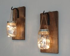 hanging sconces rustic lights decor mason home jars with maso set jar of 2 Rustic Home Decor Set of 2 Hanging Mason Jar Sconces Mason Jar Decor Mason Jars with Lights MasYou can find Hanging lights and more on our website Mason Jar Sconce, Hanging Mason Jars, Mason Jar Lighting, Sconce Lighting, Farmhouse Wall Sconces, Rustic Wall Sconces, Farmhouse Decor, Home Decor Sets, Decorated Jars