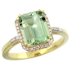 Yellow Gold Emerald Cut Green-Amethyst Ring