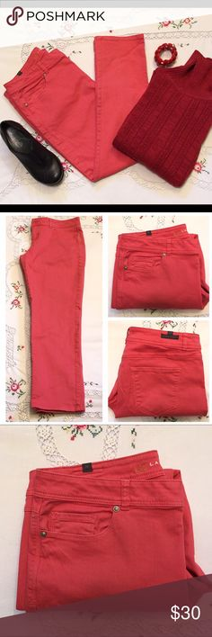 "LC Lauren Conrad Coral Cotton Straight Leg Jeans These jeans are in excellent preloved condition. A beautiful coral color which I can never resist bit unfortunately they no longer fit me. 99% cotton and 1% spandex give them just enough give. Size 14, length 36"", inseam 27"", rise 9.5"" and waist 35"". LC Lauren Conrad Jeans Straight Leg"