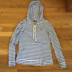 """US Polo Assn. Striped Hoodie Blue and white striped """"sailor"""" hoodie. Very very soft and comfortable! US Polo Assn Tops Sweatshirts & Hoodies"""