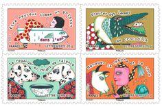 Expressions françaises : timbres-poste illustrés par Emmanuelle Houdart