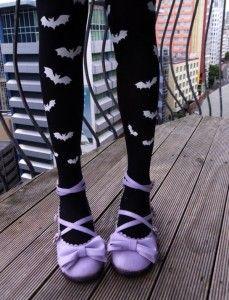 Pastel Goth Purple and Black Kawaii Bat Leggings