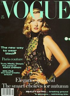 Vogue US, October 1992  Photographer: Max Vadukul  Model: Tatjana Patitz