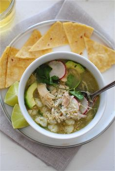 Slow Cooker Salsa Verde Chicken Posole / Bev Cooks