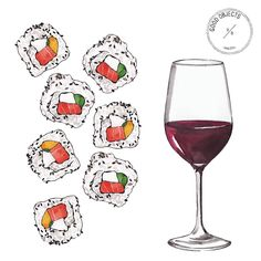 Good Objects Illustration (@goodobjects) • #watercolor #wine #sushi