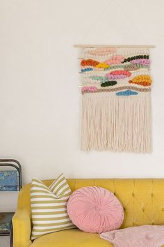 Really beautiful, colorful woven wall hanging // Erin Barrett of Sunwoven's Home studio space in Charleston | west elm
