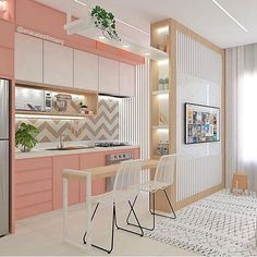 Projeto criativo e cheio de personalidade 💞 assinado por Ana Celestino. Small Apartment Design, Apartment Interior, Small Apartments, Kitchen Room Design, Interior Design Living Room, Style At Home, Küchen Design, House Design, Pink Home Decor