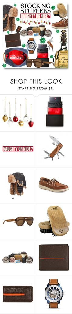 """""""Manly Must Haves!!"""" by looking-for-a-place-to-happen on Polyvore featuring H&M, Burberry, Sixtrees, Victorinox Swiss Army, Crown Cap, Sperry, Detroit Grooming Co., The Personal Barber, Tod's and FOSSIL"""