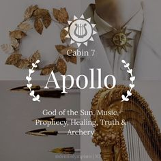 Apollo - God of the Sun, Music, Prophecy, Healing, Truth & Archery - Percy Jackson Olympians Cabin 7 Percy Jackson Cabins, Percy Jackson Art, Greek Gods And Goddesses, Greek And Roman Mythology, Apollo Aesthetic, Percy Jackson Wallpaper, Apollo Cabin, Percy Jackson Characters, Roman Gods