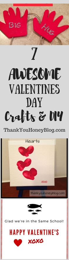 7 AWESOME Valentines Day Crafts & DIY to create this Valentine's Day. Read the whole article at ThankYouHoneyBlog.com. Click through & PIN IT! Follow Us on Pinterest + Subscribe to ThankYouHoneyBlog.com. Valentine's Day, Kids Crafts, Kids Activities, Valentine's Day Kids Crafts , DIY #valentine'sdaycrafts