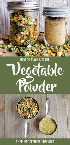Want to sneak a little extra vegetable nutrition into the meals you make for your kids - including pancakes & brownies? Try this vegetable powder. It's incredibly easy to make from your freezer (or any dehydrated vegetables you have), and can add S Dehydrated Vegetables, Dehydrated Food, Dried Vegetables, Homemade Spices, Homemade Seasonings, Homemade Desserts, Canning Recipes, Canning Jars, Canning 101