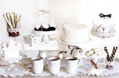 Vintage Winter White Desserts. Before saying goodbye to Winter and hello Spring, throw a party of desserts such as this.