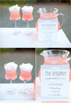 Pink lemonade, vodka or rum, cool whip and ice.