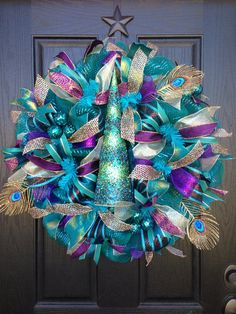 PEACOCK CHRISTMAS Mesh Wreath by GlitzyWreaths on Etsy, $95.00