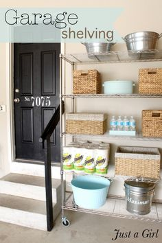 Garage pantry using shelves and inexpensive items
