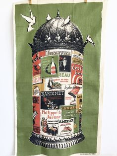 Vintage Kitchen Towel Paris Kiosk Poster French Liquors Wall