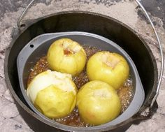 Apples cooked in a dutch oven n the fire pit...#desserts Dutch Oven Baked Caramel Apples: NEED: 4 baking apples (Granny Smith apples work great) 1/2 cup butter 1 cup firmly-packed brown sugar