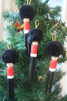 Vintage Inspired Toy Soldier Ornaments Set of 4. Christmas Ornament. Clothespin Doll.