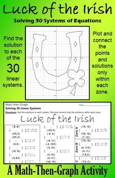 Celebrate St. Patrick's Day with this festive coordinate graphing activity. This activity gives students practice solving systems of linear equations and plotting points. Students solve 30 different systems of equations to complete the list of coordinate points.