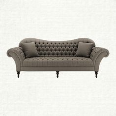 "Club 96"" Tufted Upholstered Sofa In Wheatfield Tweed 