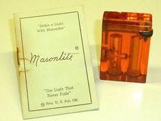 MASONLITE LIFTARM LIGHTER - MADE OF LUCITE - DOUBLE CHAMBER- 1940 - U.S.A. -RARE Sammeln & Seltenes:Tabak, Feuerzeuge & Pfeifen:Feuerzeuge:Alt (vor 1970)