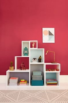 Color Combinations, Bookcase, Shelves, Pink, Inspiration, Home Decor, Diy Room Decor, Storage, Color Combos