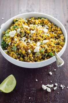 Esquites, or Mexican street corn salad, is a wonderful savory side dish that you won& be able to get enough of. It& quick to make and scales beautifully. Quinoa Salad Recipes, Veggie Recipes, Mexican Food Recipes, Vegetarian Recipes, Dinner Recipes, Drink Recipes, Free Recipes, Healthy Recipes, Mexican Street Corn Salad