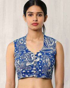 Buy Blue Indie Picks Kalamkari Print Blouse   AJIO