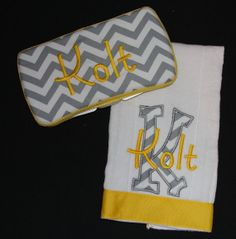 Custom embroidered gray chevron diaper wipe case and burp cloth on Etsy, $24.00