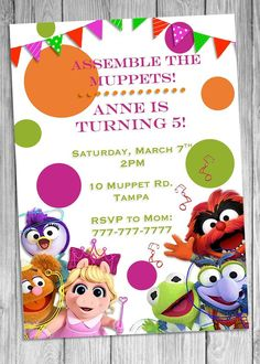 Items similar to Muppets Birthday Invitation, Baby Muppets Invitation on Etsy Second Birthday Ideas, Girls Birthday Party Themes, Baby First Birthday, Birthday Party Decorations, Unicorn Birthday, Muppet Babies, Princess Invitation, Birthday Party Invitations Free, First Birthdays