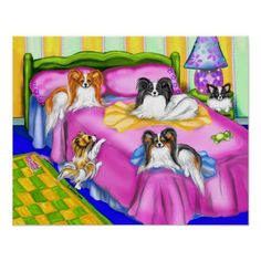 Papillon pink comfort poster - Papillon Dog Art Prints