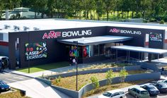 Brand Management Corporate signage using external building signage with fabricated internally illuminated lettering by Singleton Moore Signs for AMF Bowling www.smsco.com.au