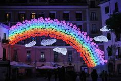Feeling a bit down? Perhaps this rainbow in Salerno's illuminated streets will cheer you up!  #salerno #lighting #cheerup #happiness #mkillumination