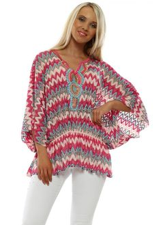 Stylish Port Boutique pink zig zag beaded tops available online now at Designer Desirables. More pink summer tops delivered free Pink Summer, Summer Tops, Kaftan Tops, Beaded Sandals, Going Out Tops, Zig Zag, White Jeans, Crochet Top, Glamour