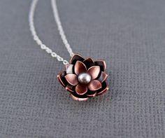 Copper Lotus Blossom Drop Pendant