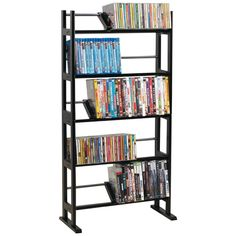Holds Up To 230 CDs Or 150 DVDs and blu-ray Discs- Contemporary Wood & Metal Design - Wood Shelves With Wood Dividers - Wide Feet For Greater Stability