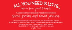 All you Need is Love Engagement Party Invitation