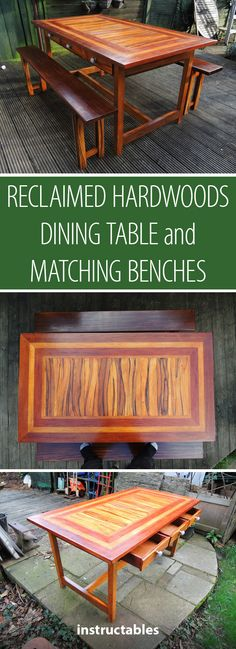 Reclaimed Hardwoods Dining Table and Matching Benches #furniture #woodworking
