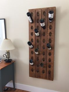 Ours is ideal for a display of empty wine bottles too beautiful to throw away, or for creating an indoor garden moment by adding faux botanicals like air plants and succulents. Wood Wine Racks, Wine Rack Wall, Wine Wall, Wall Racks, Riddling Rack, Wine Bottle Display, Wine Rack Design, Empty Wine Bottles, Home Bar Designs