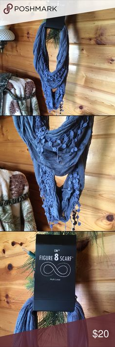 D&Y Figure 8 Infinity Scarf D&Y Figure 8 Infinity Scarf, Multiple Loops can be made. Blue. D&Y Accessories Scarves & Wraps