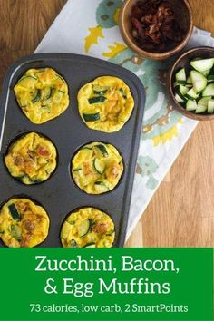 Bacon, Egg, Zucchini, and Cheese Muffins