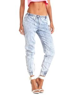 acid wash denim jogger pants @ Charlotte Russe @ around $27!