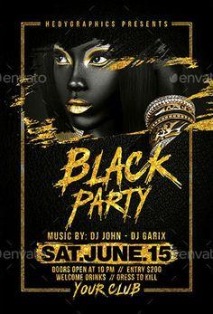 Black Party Flyer Template - https://ffflyer.com/black-party-flyer-template/ Enjoy downloading the Black Party Flyer Template created by HedyGraphics   #Club, #Dance, #Dj, #Edm, #Electro, #Elegant, #Event, #Gold, #Nightclub, #Party