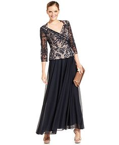 Patra Dress, Three-Quarter-Sleeve Lace Peplum Gown - Mother of the ...