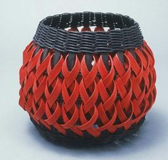 Black and red Penland Pottery Basket by JustaBunchofBaskets