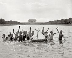 """Kids in Capitol Reflecting Pool - the capitol building in the background is """"domeless"""" because they were renovating the dome at the time"""