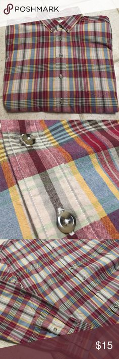 Men's Plaid Button-Down EUC. Red, blue, brown, tan, and yellow plaid. Turtle buttons. One front pocket on left. Frank & Oak Shirts Casual Button Down Shirts