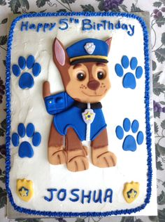 My second Chase from Paw Patrol. This is a 9 x 13 cake.